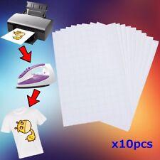 10 FOGLI CARTA FOTOGRAFICA A4 TRANSFER T-SHIRT TESSUTI CHIARI STAMPA INKJET