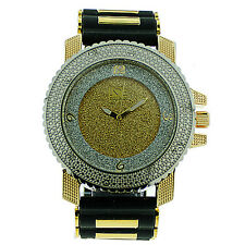 MENS ICED OUT SILVER/GOLD ICE NATION HIP HOP WATCH WITH SILICONE BULLET BAND