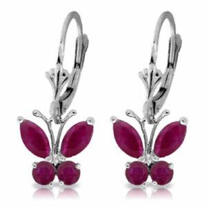 Genuine Red Ruby Gemstones Butterfly Dangle Leverback Earrings in 14K Solid Gold