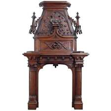 A Scottish Gothic Style Carved Walnut & Polychrome Decorated Fireplace/Mantel