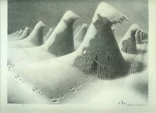 GRANT WOOD  WPA ANTIQUE 1939 Art PRINT  JANUARY  SNOW SCENE Regionalism Farming