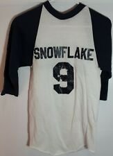 Vtg 80's Russell Raglan Snowflake #9 3/4 Sleeve Blue/White Baseball Shirt Sz S!