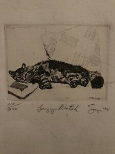 Lazy Cat Etching by Phillip Sage New Orleans Artist 1998 Limited Print Signed