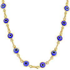 18k Gold Plated Turkish Nazar Greek Blue Evil Eye Protection Necklace 17""