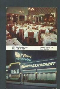 Ca 1960 Post Card Miami Beach FL Famous Restaurant Prints A Small List Of-------