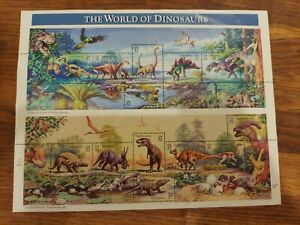 THE WORLD OF DINOSAURS FULL SHEET STAMPS 32 CENT MNH 1996 #3136