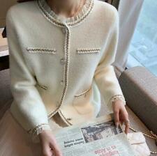 Women's Fashion Faux Mink Round Neck Falbala Knitted Sweater Cardigan Coat BYW