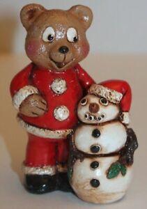 Santa Claus Teddy Bear Figurine w/ Snowman Christmas Holiday Winter Decor