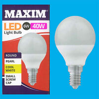 4x 6W G45 Golf Ball LED Light Bulb, Round E14 SES 4000K Cool White Lamp