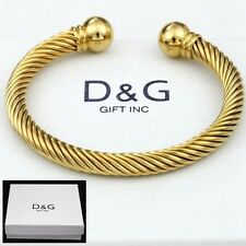 Dg Men S Stainless Steel Gold 7 Adjule Round Cuff Cable Bracelet Uni