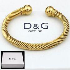 "DG Men's Stainless Steel,Gold,7"" Adjustable Round Cuff Cable Bracelet*Unisex.Box"