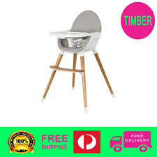 Baby High Chair Feeding Timber Wood legs Toddler PU Seat Easy Clean