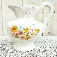 Vintage 1960s Floral Country Kitchen Shabby Chic Cream Pitcher Retro Jug