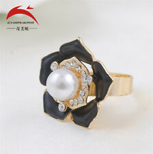 Adjustable Black Flower pearl Big Cocktail Statement Ring Fashion Jewelry