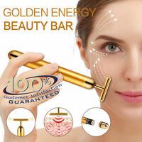 24K Gold Beauty Bar Facial Roller Face Vibration Skincare Massage Face Lift Firm