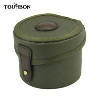 Tourbon Canvas Leather Fly Fishing Reel Case Cartrdige Ammo Storage Box Vintage