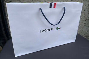 """New Authentic Lacoste Large Paper Gift Shopping Logo Bag 18""""L x 12""""H x 3""""W"""