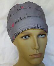 EKG HEARTBEATS SURGICAL SCRUB HAT THEATRE CAP HAT modified pixie CORD LOCK