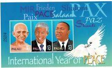 PALAU 2004 - UN - INTERNATIONAL YEAR OF PEACE GANDHI  SHEET OF 3 STAMPS MNH