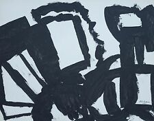 Vintage Black & White Abstract Acrylic On Paper By Ruth Dulman NY Artist