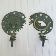 Vtg 1994 Partylite Sun & Moon Wall Candle Holders Metal Rustic Green & Gold 1""