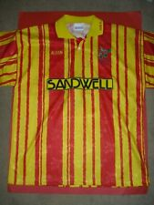 1980s WEST BROMWICH ALBION AWAY SHIRT RED AND YELLOW (WBA WEST BROM)
