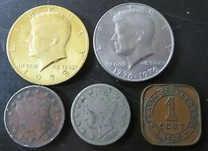 Coin Lot 1776-1976 & 1973 Half Dollars + 1899 & 1912 Penny + 1920 India 1¢