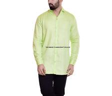 Uomo Verde Camicia Tinta Unita Misto Cotone collo Classico Formale Casual Manica