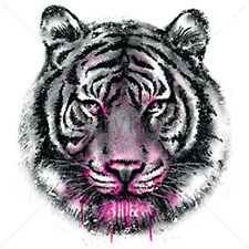 Tiger Colorful Painted Purple Pink Neon Paint Animal Art Design T-Shirt Tee