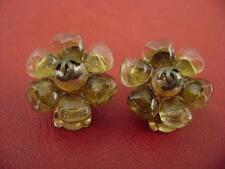 Chanel vintage CC logo brown poured glass camellia clips earrings