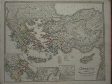 1850 SPRUNER ANTIQUE HISTORICAL MAP ~ GREECE DORIAN INVASION BATTLE OF PLATAEA