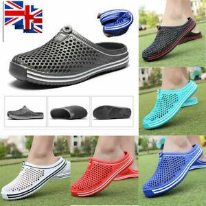 Mens Womens Slip On Slippers Hollow Beach Sandals Clogs Casual Garden Flat Shoes