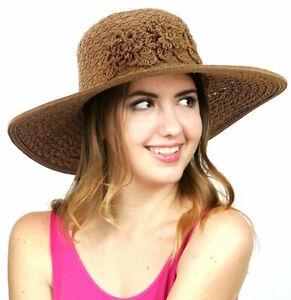 C.C Sun Church Flower Woven Floral Paper Straw Women's Hat Adjustable SPF50