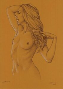 original drawing A3 43MS art by samovar sketch pastel woman Signed 2020