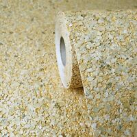 Modern gold metallic Big Chip Natural Real Mica Stone Wallpaper Plain Textured