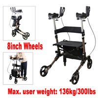 Upright Stand Up Folding Rollator Walker with Seat  8inch Wheels Adjust Handle