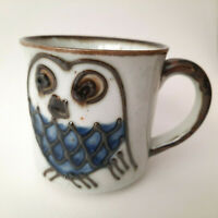 Vintage Owl Coffee Cup Mug Blue Owl with Heavy Outline 70's Retro