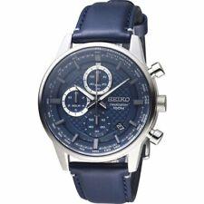 全新現貨SEIKO精工 SSB333P1 Men's Chronograph計時碼表 Date Navy 皮革錶帶手錶 HK*1