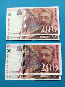 200 Francs EIFFEL FRANCE 1997 2 x 2 billets qui se suivent neuf