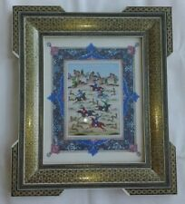 Persian Khatam Inlaid Frame Persian Miniature Hand Painting