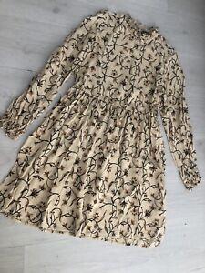 Primark Natural Floral Print Shirred High Neck L/ Sleeve Dress Sz 10