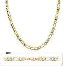 "6.90mm 24"" 47.00gm 14k Gold Two Tone Pave Men's Figaro Chain Necklace Polished"