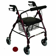 "Rollator Walker with Padded Seat, Brakes, Basket, 6"" Wheels Red Burgundy Folding"