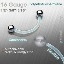 "w/Steel Ball Ends (Specify Size) 16g,14g~5/16,3/8"",7/ 16"",1/2"" Clear Ptfe Eyebrow"