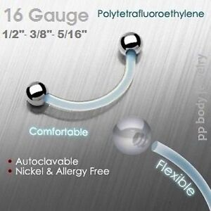 """16g,14g~5/16,3/8"""",7/16"""",1/2"""" Clear PTFE Eyebrow w/Steel Ball Ends (Specify Size)"""