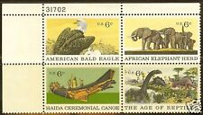 Scotts #1387-90 6c Natural History Plate Block, Mnh