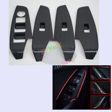 4Pcs For MAZDA 3 Axela 2017 Carbon fiber Style Window Control Panel Cover Trim s