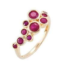 Genuine Madagascar Red Rubies Round Cut Gemstones Ring in 14K. Solid Yellow Gold