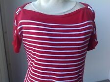 Ralph Lauren sailor T-shirt top red & white cotton fits like Large