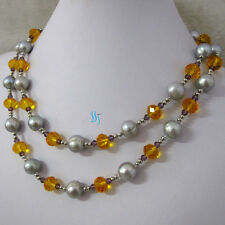 """Freshwater Pearl Necklace Crystal 37"""" 4-12mm Silver Gray"""